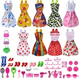 #8: Total 50pcs -9 Pack Barbie Doll Clothes Party Gown Outfits +41pcs Different Barbie Accessories Shoes bags Glasses Necklace Tableware Mirror For for Barbie doll Girl Birthday Gift