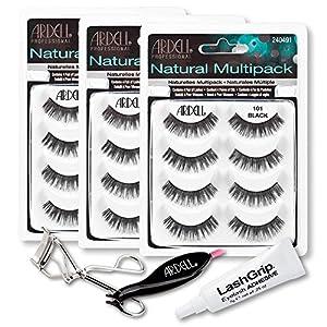 Ardell Fake Eyelashes 101 Value Pack - Natural Multipack 101 (Black, 3-Pack), LashGrip Strip Adhesive, Dual Lash Applicator, Cameo Eyelash Curler - Everything You Need For Perfect False Eyelashes