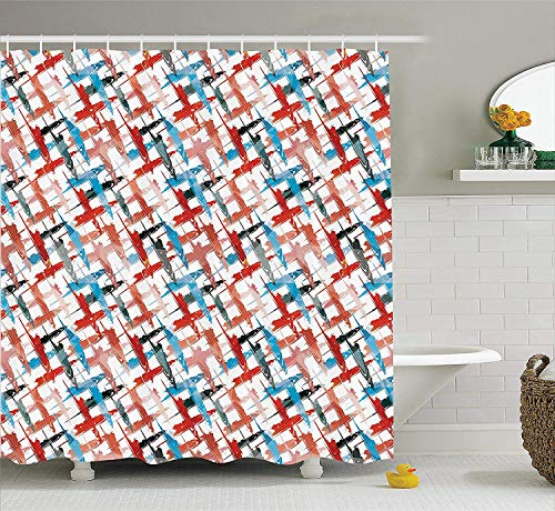 Psychedelic Decor Shower Curtain, Grunge Graffiti Patterns Street Art Spray Paint Chaos of Colors Artwork, Fabric Bathroom Decor Set with Hooks, 60W X 72L Inche, Red Blue
