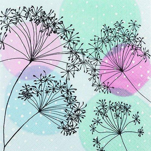 20 Servietten Harmonie und Balance / Blumen / Muster / Pastellfarben 33x33cm