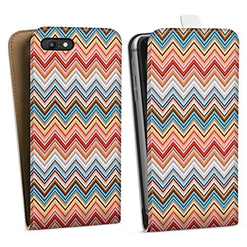 Apple iPhone X Silikon Hülle Case Schutzhülle Zickzack Retro Muster Downflip Tasche weiß