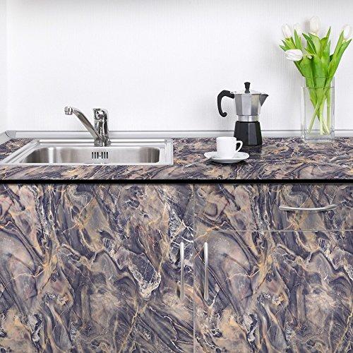 Kunstmarmor Textur PVC Selbstklebend wasserdicht Wand Tapeten Schlafzimmer Küche Arbeitsplatten Marmor Aufkleber 300 x 60 cm, - Arbeitsplatte Magie