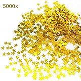 JZK® 5000 x 1cm gold Sterne glitzer plastik Konfetti Tisch Confetti, Handwerk Geschenk Deko Zubehör, für Hochzeit Geburtstag Taufe Party Weihnachten Festival (gold sterne)
