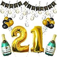 Set 21esimo Compleanno Decorazioni Palloncini Striscione da Kurtzy  Noi di Kurtzy, sappiamo quanto le decorazioni siano importanti per rendere una festa splendida. Questo è il motivo per cui questo set di palloncini e decorazioni è realizzat...