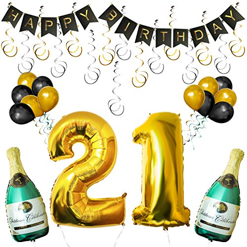 "(BELLE VOUS Deko Geburtstag - 21st Geburtstag Dekoration Set - Happy Birthday Dekoration Party Set mit Aufblasbare Champagnerflaschen, Gold Nummer ""21"" Ballons, Happy Birthday Banner)"