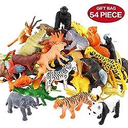 54 Pièces Mini Jouets Animaux Maquis, Monde Animal Ressemblant Animaux Sauvages Ressources Apprentissage Souvenirs Fête Jouets pour Garçons Petits Enfants Animaux Forêt Ferme Jouets Jeu complet