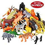 Tierfiguren, 54 Stücke Mini-Spielzeugset von Dschungel-Tieren, Tierwelt, lebensechte Wildtiere, Lernstoffe, Partyzubehör, Spielzeuge für Jungs und Kinder, Playset von Tieren im Wald und kleinen Farm