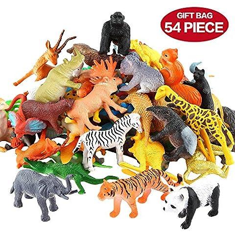 Figures Animaux, 54 Pièces Mini Jouets Animaux Maquis, Monde Animal Ressemblant Animaux Sauvages Vinyle Plastique Ressources Apprentissage Souvenirs Fête Jouets pour Garçons Petits Enfants Animaux Forêt Ferme Jouets Jeu