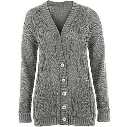 GRANDE TAILLE FEMMES NEUF TORSADE GROSSE MAILLE BOUTON TRICOT GRAND-PÈRE CARDIGANS UK8-22 Gris Clair
