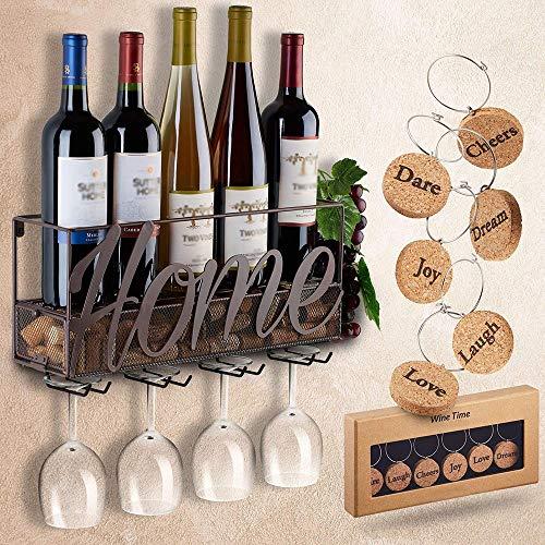 YANGMAN An Der Wand Montierte Wein Stange | Flaschen-Und Glashalter | Cork Storage Store | Kommen...