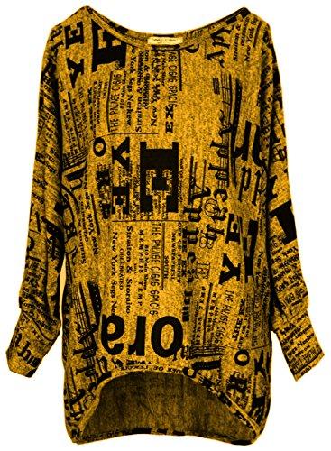 Emma & Giovanni - Oversize Langarmshirt/Pullover- Damen (M/L, Ocker)