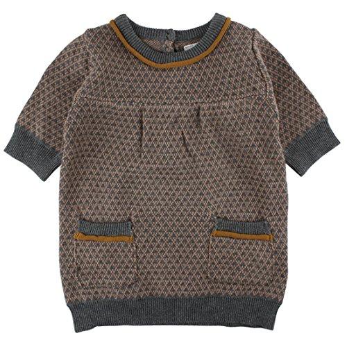 EnFant Baby- und Kinder Kurzarm Strickkleid, 100% Baumwolle, Dunkelbraun, Gr. 134/140, Dawn Knit SS Dress Café Au lait 90340 20-38