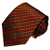 Lorenzo Cana - Originale Marken Krawatte aus 100% Seide - Hahnentritt Muster orange braun schwarz ocker - 36081