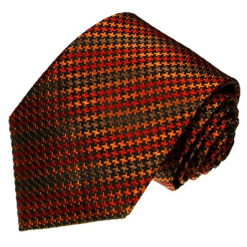 Lorenzo Cana Originale Marken Krawatte aus 100% Seide - Hahnentritt Muster orange braun schwarz ocker - 36081 (Kreis-muster-krawatte)
