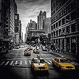 Artland Qualitätsbilder I Wandtattoo Wandsticker Wandaufkleber 50 x 50 cm Städte Amerika Newyork Foto Schwarz Weiß C7CC New York City Verkehr auf der 5th Avenue