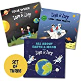 Zayn and Zoey Space Adventures -Set of 3 Books (Rockets, Solar System, Earth and Moon) - Educational Story Books for Kids - C