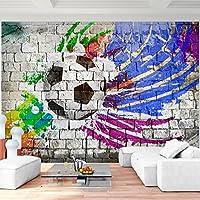 Fototapete Fussball 352 x 250 cm Vlies Wand Tapete Wohnzimmer Schlafzimmer Büro Flur Dekoration Wandbilder XXL Moderne Wanddeko - 100% MADE IN GERMANY - Steinwand Grafitti Blau Violett Gelb Schwarz Runa Tapeten 9021011b