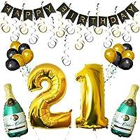 Set Decoraciones Fiesta de Cumpleaños Globos #21 y Pancarta Happy Birthday por Kurtzy - Botellas de Champán Inflables, #21 Dorado de 101,6cm y Globos - Kit Decoraciones de Pared - Party Supplies