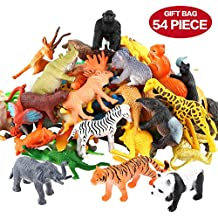 Figura Animales, Set de 54 Piezas de Mini Animales de Jungle, Mundo Zoológico Realista Silvestre de Vinilo Plástico, Recurso de Aprendizaje de Animales, Juguetes de Favores de Fiesta Para Infantes Niños, Set de Juego de Juguetes Animales de Granja Pequeña de Bosque