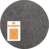 kwb Quick-Stick Schleifgitter-Scheibe K 80 – für Langhalsschleifer, 225 mm Ø, aus Fiberglas, gelocht mit Klett (5 Stk.)