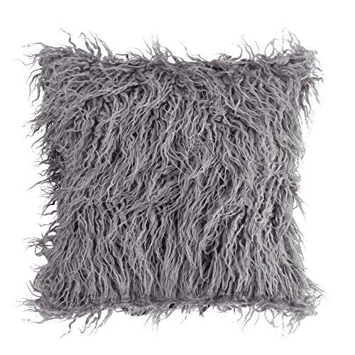 üge, Werfen Sie Fell flauschige Sofa Kissen weichen Plüsch Luxus Kissen decken Faux Pelz Kissen Nackenrolle Abdeckungen<br/>(Grau) ()