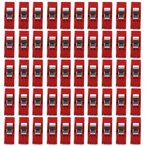 Nähen Craft Quilt Binding Kunststoff Clips Klemmen 50Stück klar und rot