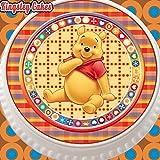 vorgeschnittenen Essbarer Zuckerguss Cake Topper, 19,1cm rund Winnie Pooh mit niedlichem Bordüre