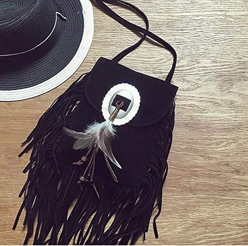 Romantic-Z 2016 Frauen schwarz quaste Tasche Klassische Flap Bag pu Leder kleine Schulter Crossbody Taschen für Frauen Sude Leder Clutch Handtasche, schwarz - Klassische Flap Bag