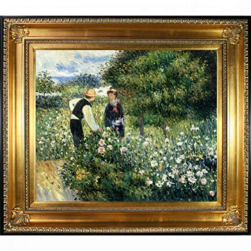 Auguste Renoir Leinwand (overstockart La Ansammlung Zupfen Blumen, 1875von Auguste Renoir handbemalt Öl auf Leinwand mit Regency Gold Rahmen, multicolor, 72,4cm L x 82,5cm W x 5,1cm H)