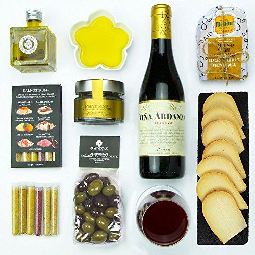 Caja de Degustación - Regalo Delicatessen de Lujo - Lote Gourmet con Queso, Vino Reserva, Salsa Trufada, Aceite de Oliva y mucho mas!