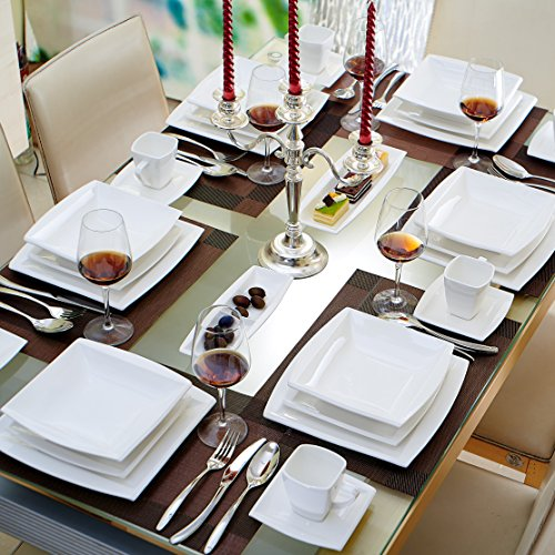 malacasa serie blance 32 teilig kombiservice porzellan eckig geschirrset in klassischem design. Black Bedroom Furniture Sets. Home Design Ideas