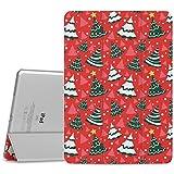 MoKo Hülle für Apple iPad Air 2 - PU Leder Tasche Schale Smart Case mit Translucent Rücken Deckel, mit Auto Schlaf/Wach Funktion und Standfunktion für iPad Air 2 9.7 inch Tablet, Roter Weihnachtsbaum