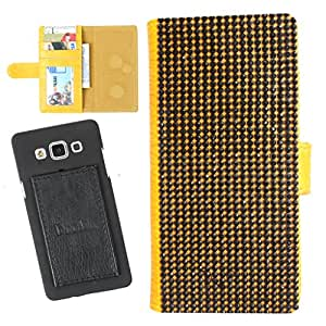 DooDa PU Leather Wallet Flip Case Cover With Patterned Rhinestone Glitters in Front And Card & ID Slots For Karbonn A21
