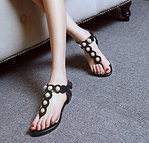 MissSaSa Femmes Sandales Plats Clip Toe Lanière En T Noir