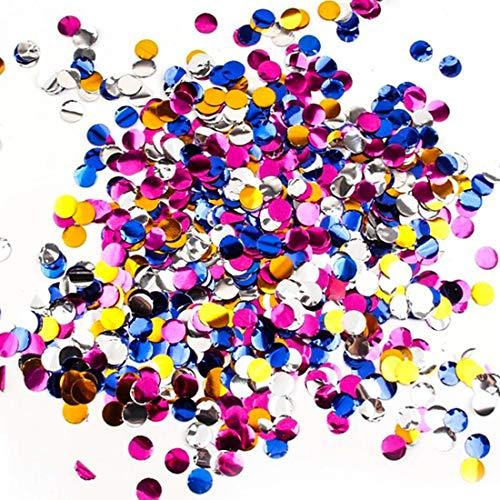 CDJX Konfetti-Konfetti, 50 g, metallisch, rund, buntes Glitzer-Konfetti, Tischtuch, romantisches Konfetti für Unkrauten, Jahrestag, Geburtstag, Party-Dekoration, 5 Stück