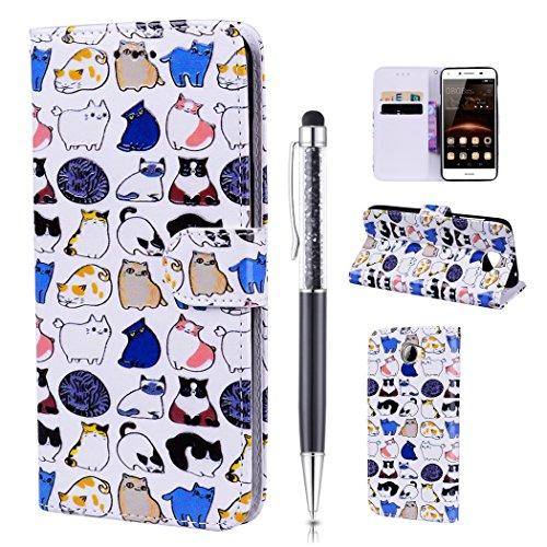 Leder Handyhülle für Huawei Y5 II / Y5 2 Hülle, Handytasche Leder Flip Case für Huawei Y5 II / Y5 2, Schutzhülle Elegant Bunt Muster Schön Design für Huawei Y5 II / Y5 2, ZCRO Lederhülle Tasche Brieftasche Geldbörse PU Leder Handy Hüllen Wallet Flip Cover Etui Ledertasche mit Standfunktion Kartenfach Magnetverschluss Ultra Dünn Silikon Bumper Case Schale Glitzer Stift für Huawei Y5 II / Y5 2 (Niedlich Katzen)