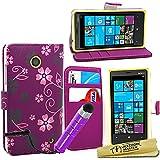 Maestro de accesorios carcasa en folio del patrón de flor de piel púrpura Jack Stylus para Nokia Lumia 630
