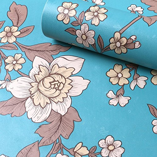 LoveFaye Vintage Peony Self-Adhesive Shelf Drawer Liner Removable PVC Blue Contact Paper 45x300cm,Green by LoveFaye (Green Shelf Liner)
