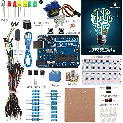 SunFounder Starter Kit Standard for Arduino Uno R3 Mega 2560 Nano Circuit Board Jumper Wires Sensors Breadboard Electronics With Uno Detail Manual (+ Deutsche Anleitung) Standard-studio-kit
