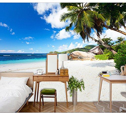 Wongxl Custom Garden View Ocean Beach Wohnzimmer Tv Hintergrundbild Office Developer Decke Wallpaper Anpassung 3D Tapete Hintergrundbild Fresko Wandmalerei Wallpaper Mural 350cmX300cm Beach-tv