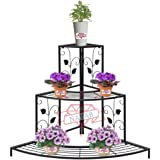 NAYAB Floral Design Metal Step Style 3 Tier Corner Shelf for Flower Pots Planters Holder Display Stand for Garden…
