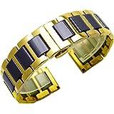 Correa de reloj de acero inoxidable y cerámica de dos tonos; todos los eslabones desmontables con herramientas; correa de rep