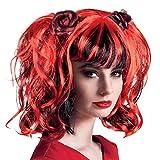 Générique - Pe856 - Perruque Gothique Rouge/Noir/Rose - Taille Unique