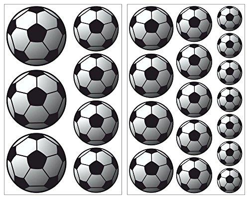 plot4u 23-Teiliges Fussball Wandtattoo Set Wandaufkleber Kinderzimmer Babyzimmer in 5 Größen (2x16x26cm Mehrfarbig)