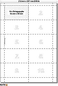 auf 5 Stk DIN A4 B/ögen zum Selbstbedrucken beidseitig wei/ß hochwertiges perforiertes Papier 86 x 54 mm Einleger 160g//m/² Kreditkartenformat Einsteckkarte 50 x Karteo/® Einsteckschilder