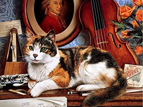 Wowdecor DIY Malen nach Zahlen Kits Geschenk für Erwachsene Kinder, Malen nach Zahlen Home Haus Dekor - Katze Geige Mozart Hochformat 40 x 50 cm ohne Rahmen