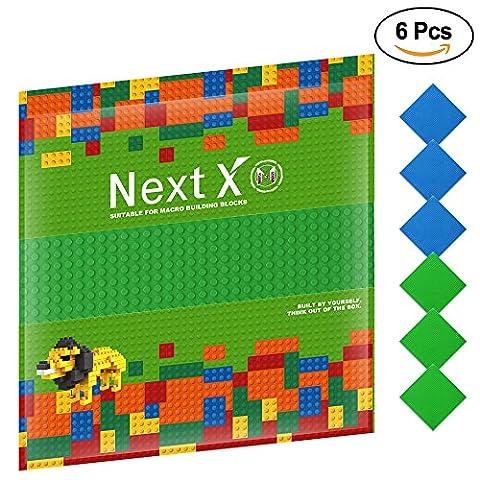 NextX 6 Stück Grundplatte für Classic Bausteine Plastik Bauplatte 25 x 25 cm - Grün+Blau (Ghostbusters Kostüm Diy)
