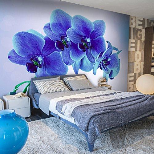 decomonkey | Fototapete Blumen Orchidee 300x210 cm XXL | Design Tapete | Fototapeten | Tapeten | Wandtapete | moderne Wanddeko | Wand Dekoration Schlafzimmer Wohnzimmer Blau | FOA0023c62XL