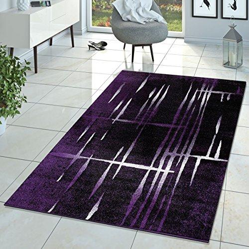 Teppich Matrix Design Kurzflor Meliert Lila Schwarz Creme, Größe:60x100 cm ()