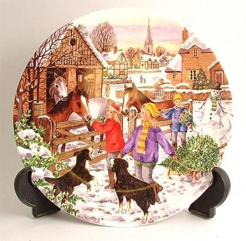 Wedgwood Bringing Home The Arbre de Noël Par Tony Heritage Companions Plaque (Bradford Albero Di Natale)